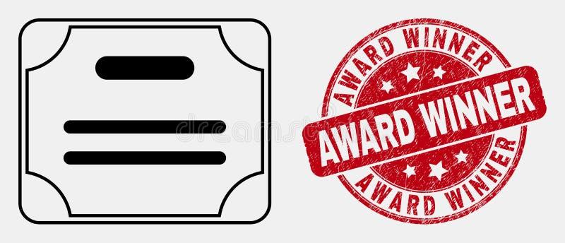 Icona del diploma del certificato del colpo di vettore e guarnizione graffiata del bollo del vincitore del premio illustrazione di stock