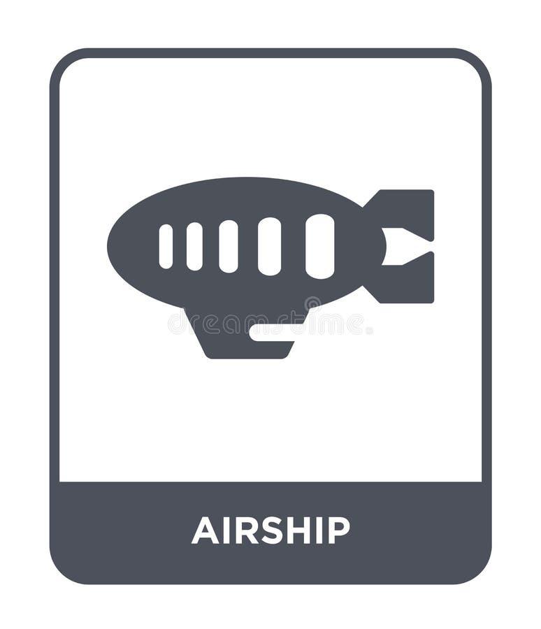 icona del dirigibile nello stile d'avanguardia di progettazione icona del dirigibile isolata su fondo bianco simbolo piano sempli royalty illustrazione gratis