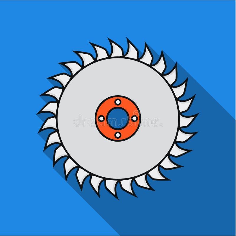 Icona del disco della sega nello stile piano su fondo bianco Illustrazione di vettore delle azione di simbolo del legname e della illustrazione di stock