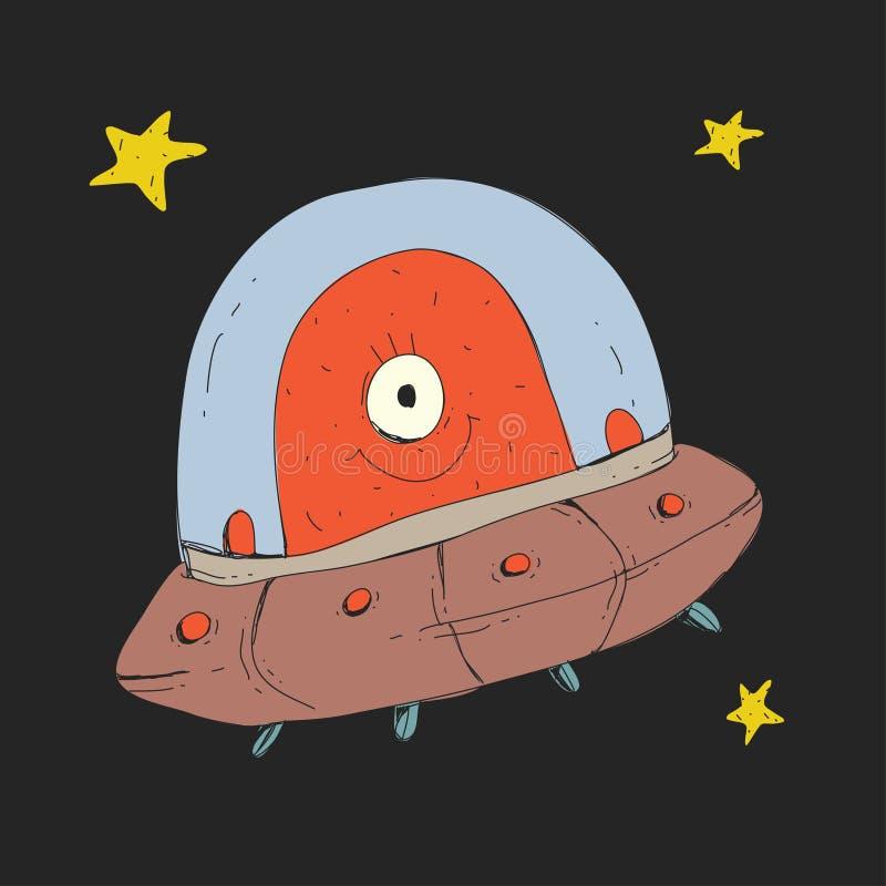Icona del disco volante del fumetto, del UFO con la creatura straniera e delle stelle per i bambini Esplorazione di viaggio di av illustrazione vettoriale