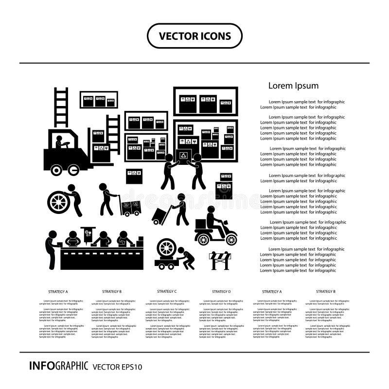 Icona del distributore commerciale e del produttore per il sistema economico illustrazione di stock