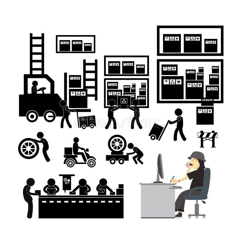 Icona del distributore commerciale e del produttore per il sistema economico illustrazione vettoriale