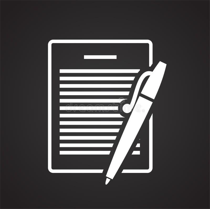 Icona del documento di affari su fondo nero per il grafico ed il web design, segno semplice moderno di vettore Concetto del Inter royalty illustrazione gratis