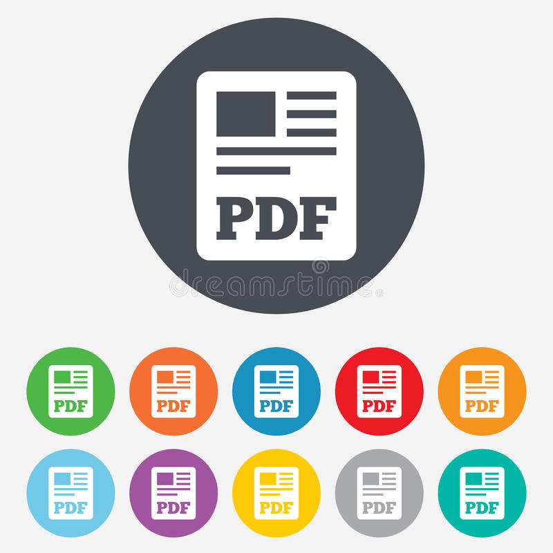 Icona del documento di file pdf. Bottone di pdf di download. illustrazione di stock