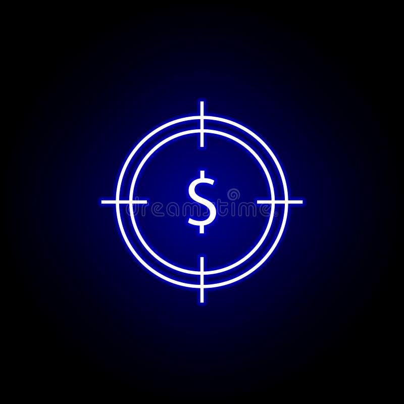 icona del dollaro dell'obiettivo nello stile al neon Elemento dell'illustrazione di finanza I segni e l'icona di simboli possono  illustrazione di stock