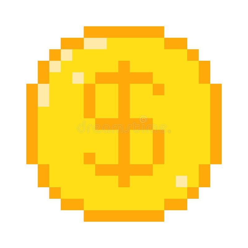 Icona del dollaro del pixel di vettore illustrazione vettoriale