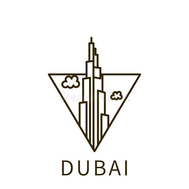 Icona del Dubai Elemento della città nell'icona del triangolo royalty illustrazione gratis