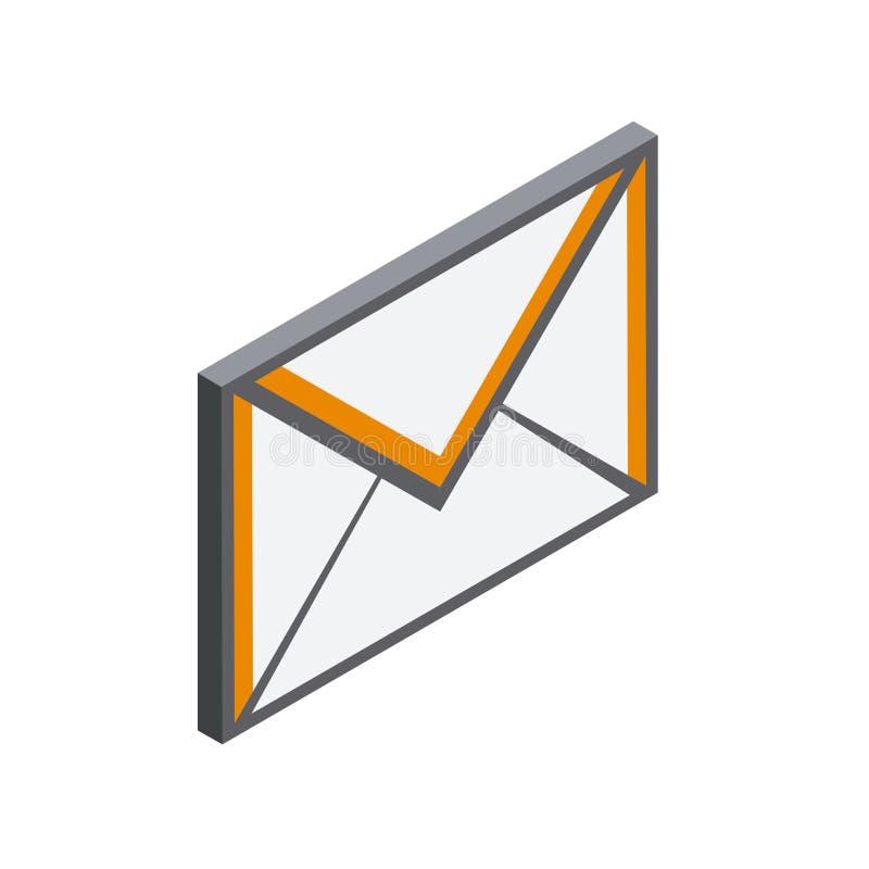 Icona del email nello stile isometrico 3D royalty illustrazione gratis