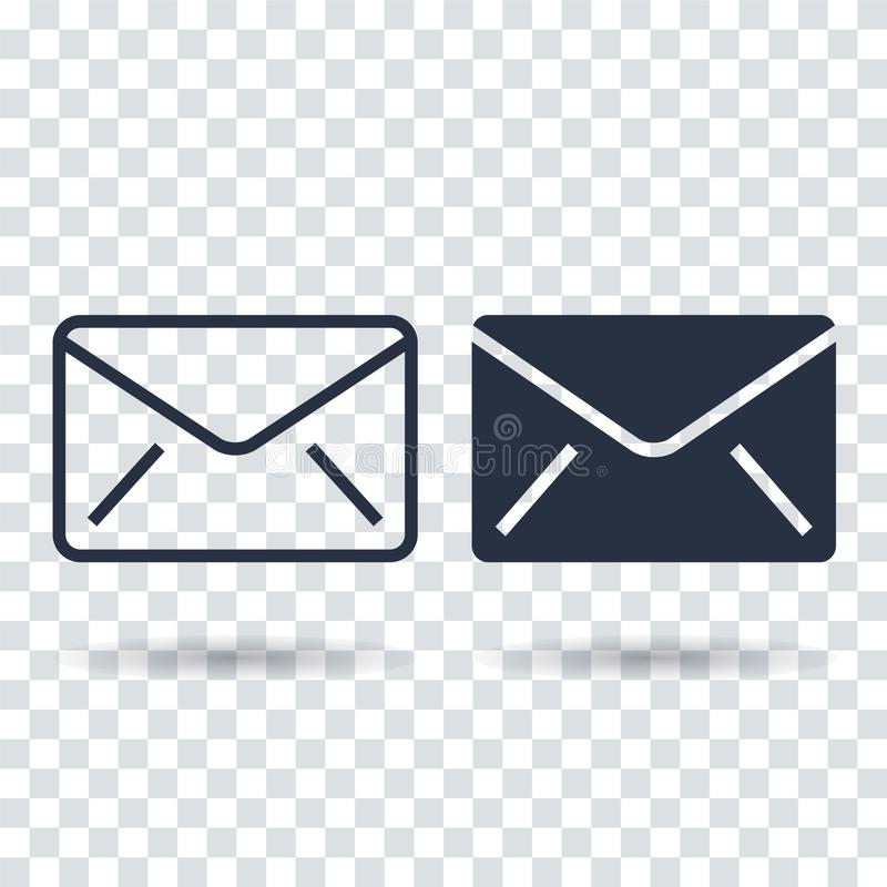 Icona del email piana Icona del email del profilo illustrazione vettoriale