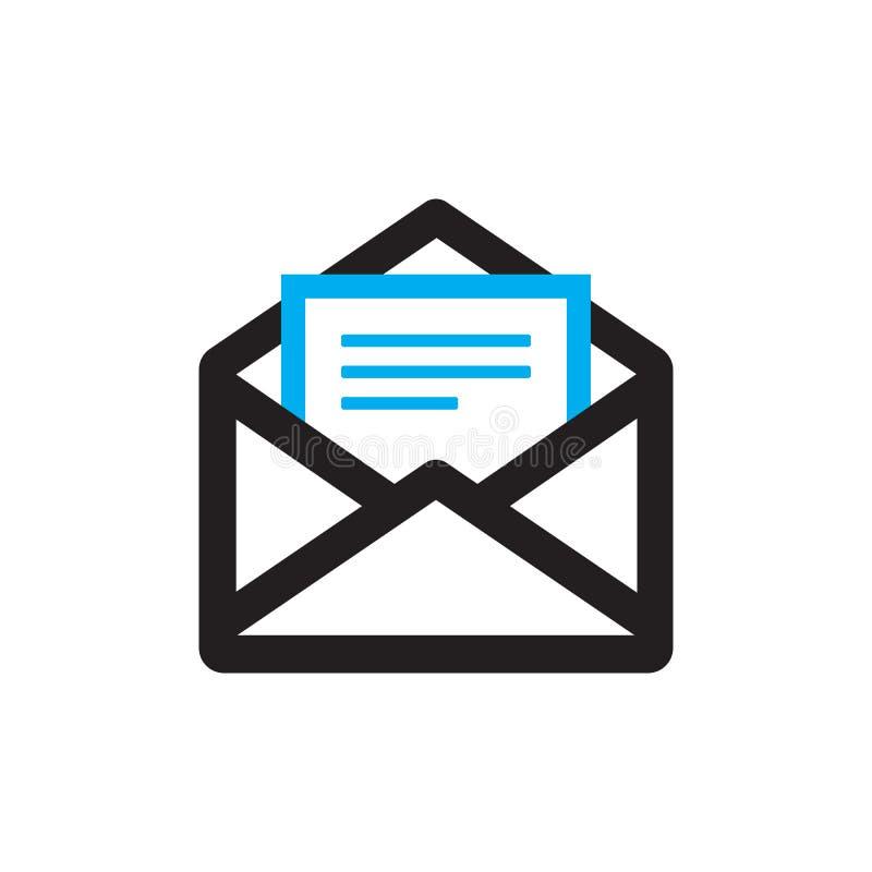 Icona del email sull'illustrazione bianca di vettore del fondo Busta con il segno di concetto del documento Simbolo creativo dell illustrazione vettoriale