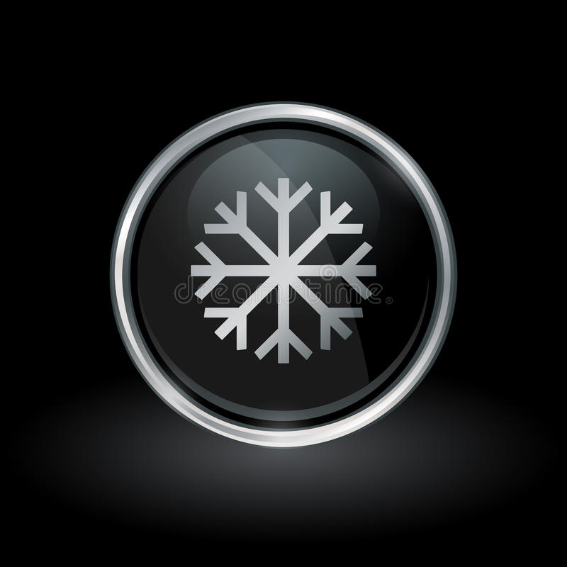 Icona del fiocco di neve dentro argento rotondo e l'emblema nero royalty illustrazione gratis