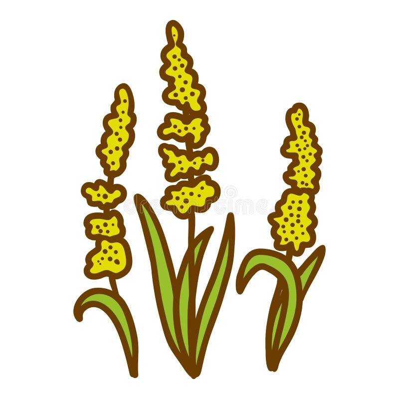 Icona del fiore del miele, stile disegnato a mano illustrazione vettoriale