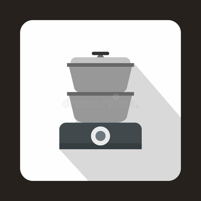 Icona del fornello del vapore, stile piano royalty illustrazione gratis