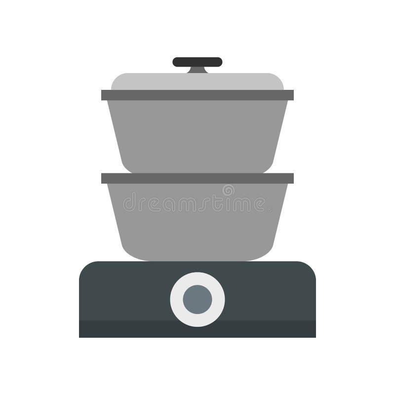 Icona del fornello del vapore, stile piano illustrazione vettoriale