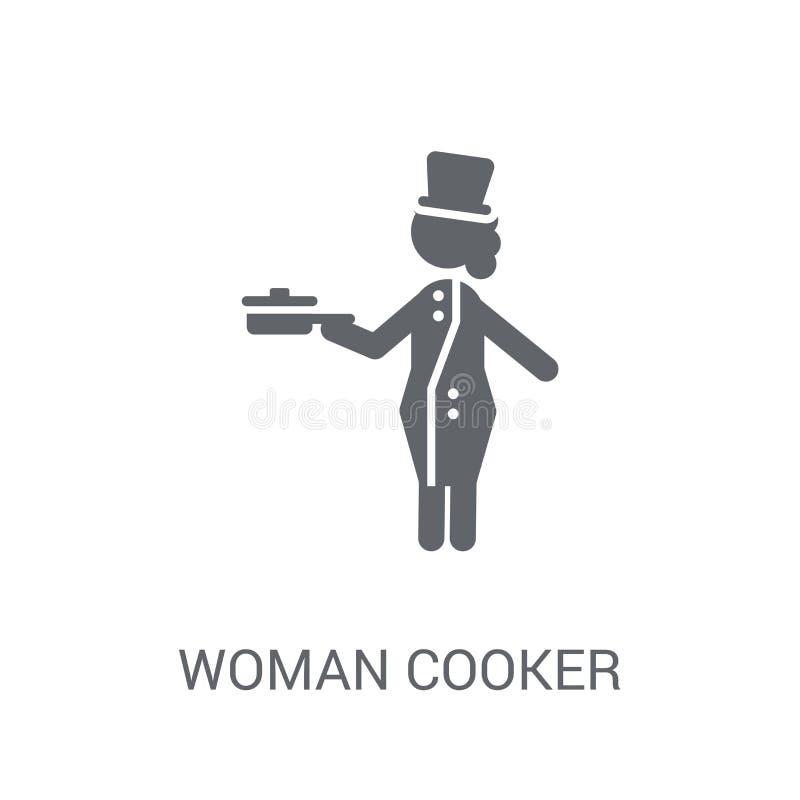 Icona del fornello della donna Concetto d'avanguardia di logo del fornello della donna sul BAC bianco illustrazione vettoriale