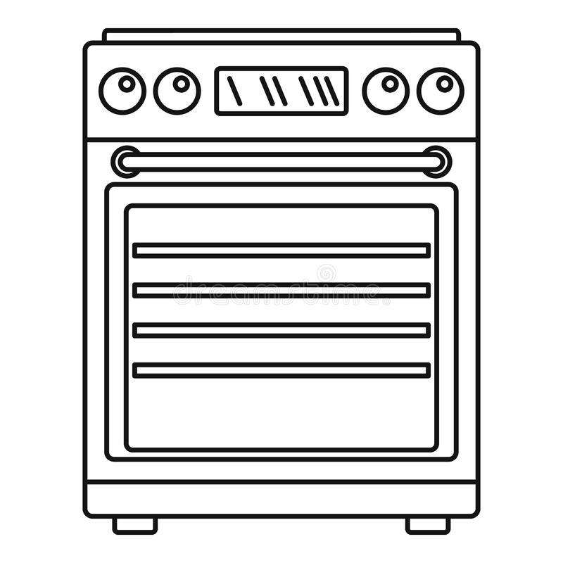 Icona del fornello di gas, stile del profilo illustrazione di stock