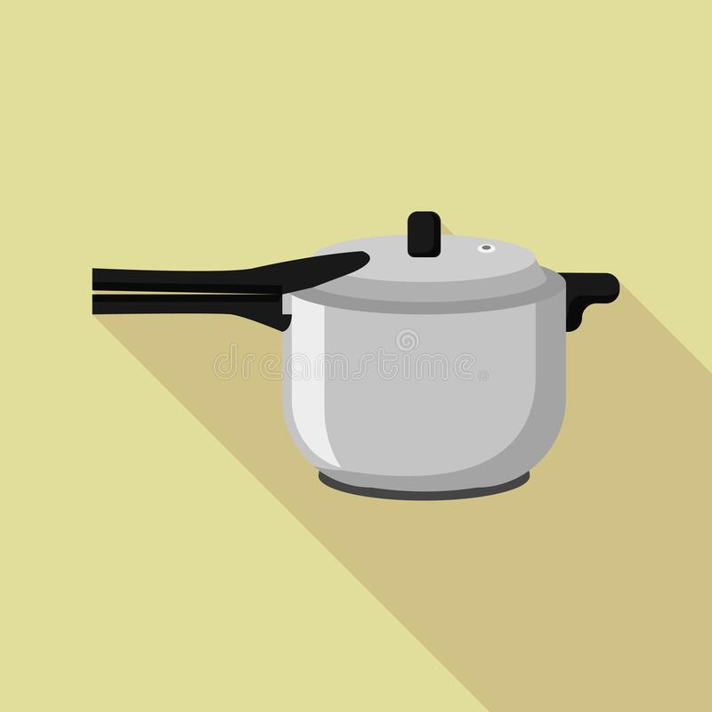 Icona del fornello del metallo della cucina, stile piano illustrazione di stock