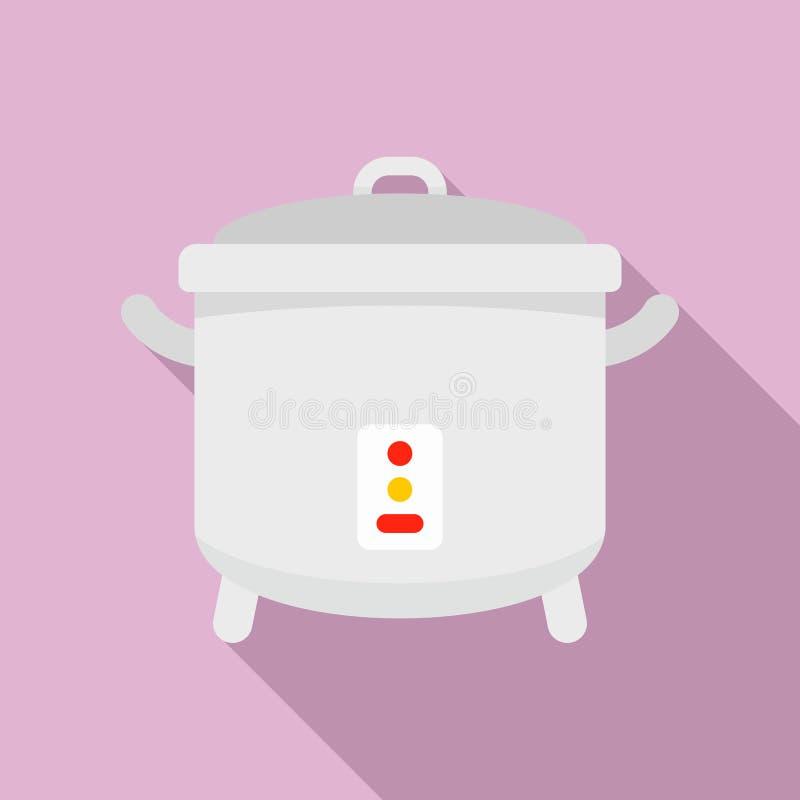 Icona del fornello, stile piano illustrazione di stock