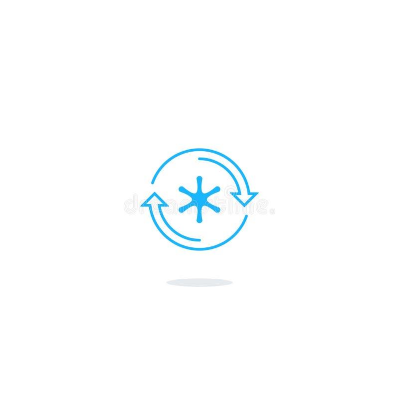 Icona del frigorifero, logo del controllo della temperatura illustrazione vettoriale