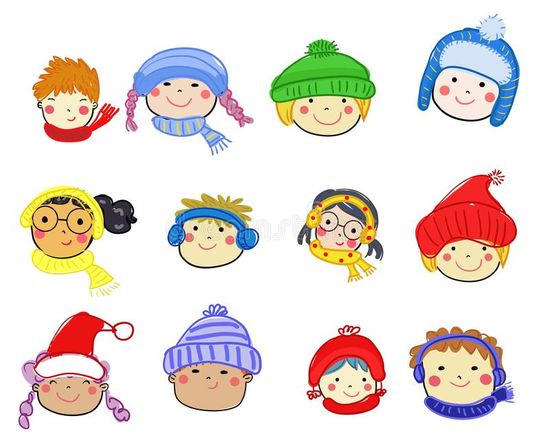 Icona del fronte dei bambini del fumetto fotografia stock