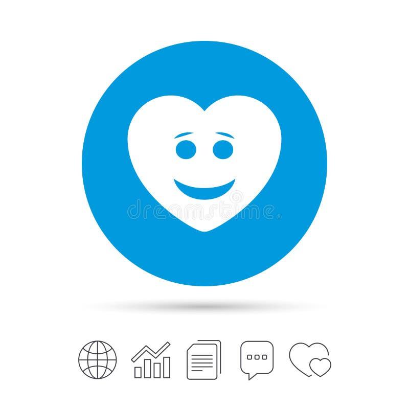 Icona del fronte del cuore di sorriso Simbolo sorridente illustrazione di stock