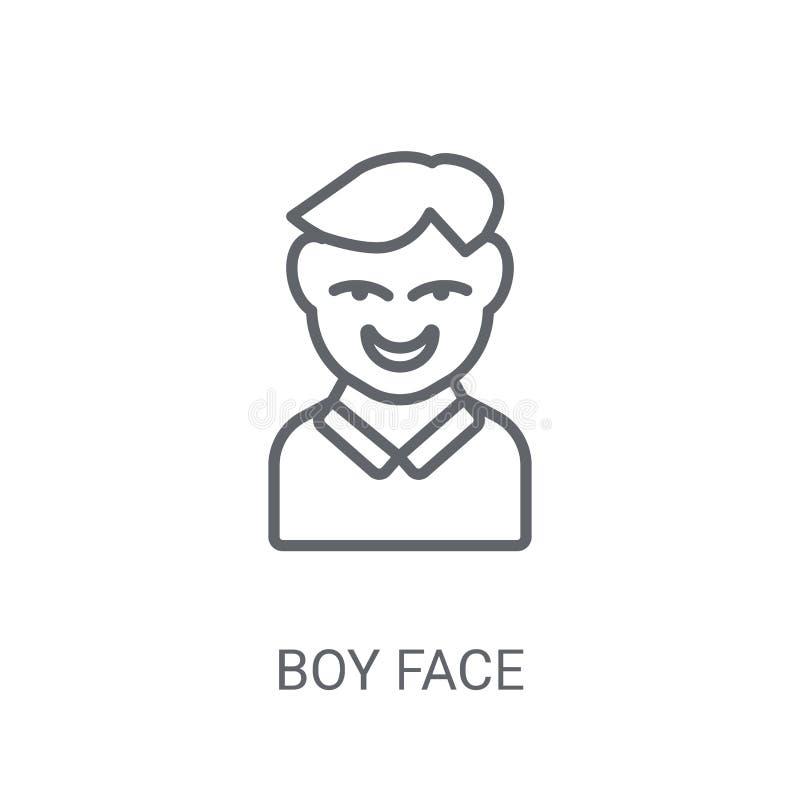 Icona del fronte del ragazzo Concetto d'avanguardia di logo del fronte del ragazzo su fondo bianco illustrazione di stock