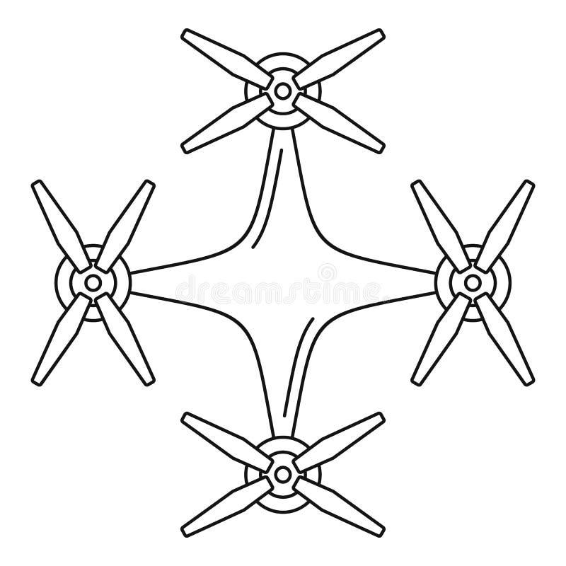 Icona del fuco dell'elicottero, stile del profilo illustrazione vettoriale