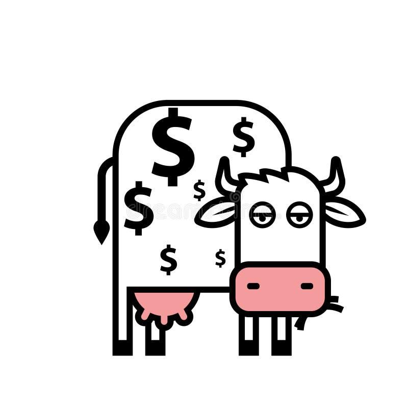 Icona del fumetto del cash cow illustrazione di stock