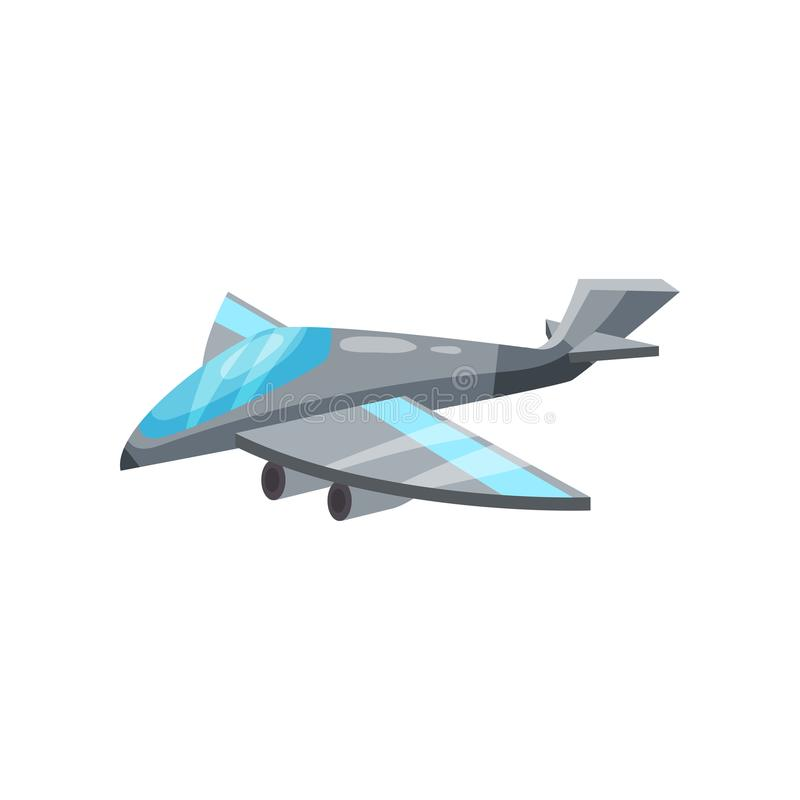 Icona del fumetto dell'æreo a reazione militare grigio Aerei con i motori potenti Combattente dell'aeronautica Progettazione pian royalty illustrazione gratis