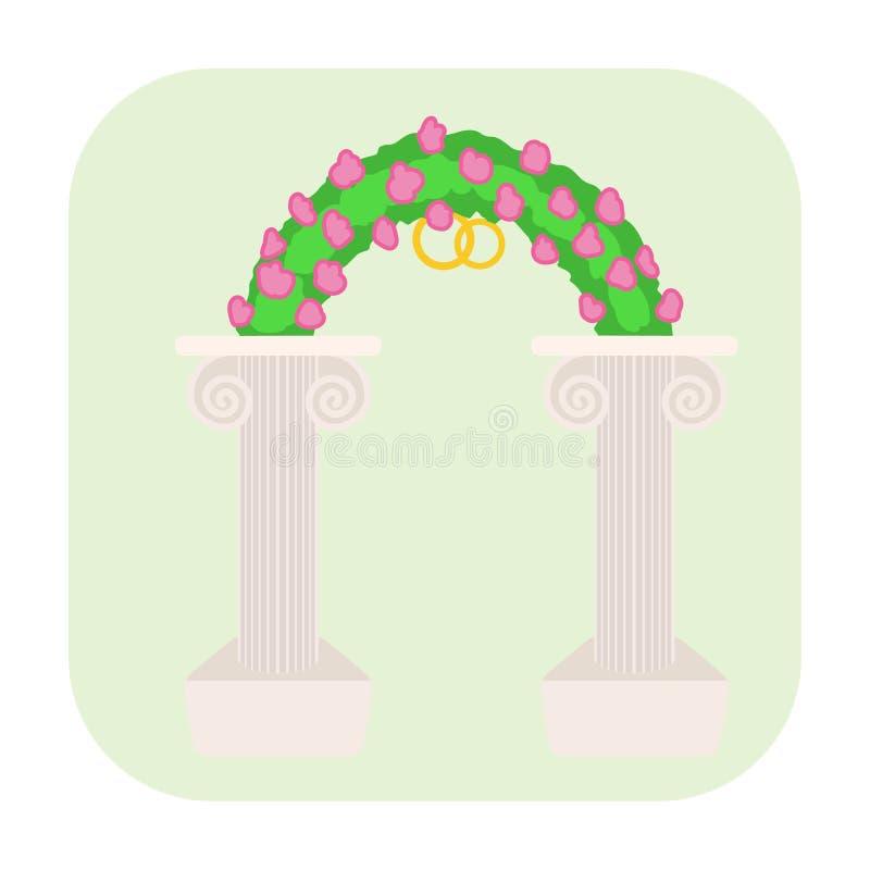 Icona del fumetto dell'altare di nozze illustrazione di stock