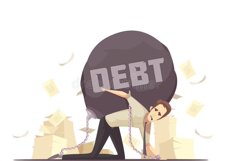 Icona del fumetto di debito del fallimento illustrazione vettoriale