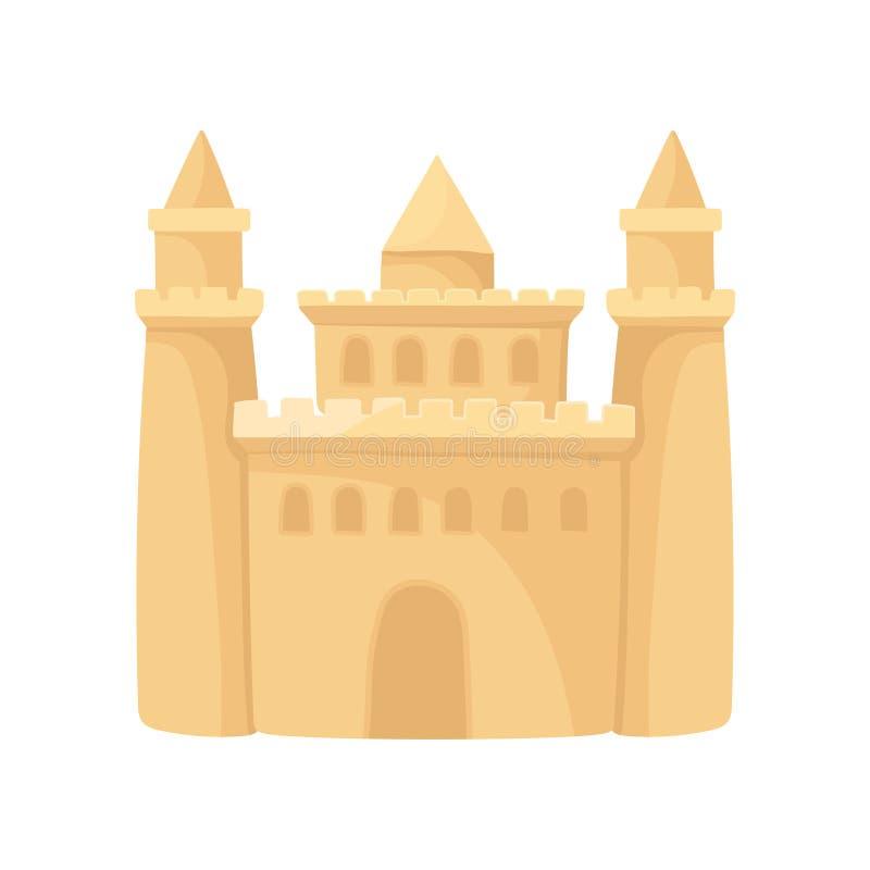 Icona del fumetto di grande castello di sabbia con tre torri Festa della spiaggia Elemento piano di vettore per la pubblicità del royalty illustrazione gratis