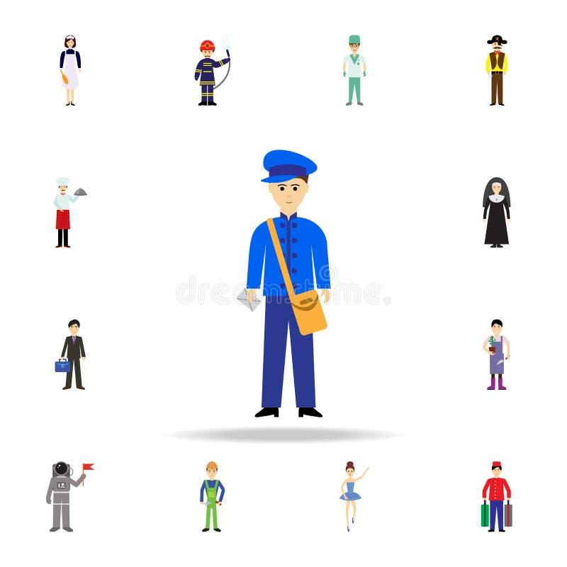 icona del fumetto del postino Insieme dettagliato delle icone di professione di colore Progettazione grafica premio Una delle ico illustrazione di stock