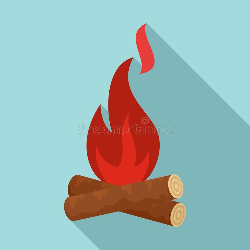 Icona del fuoco del campo di età della pietra, stile piano royalty illustrazione gratis