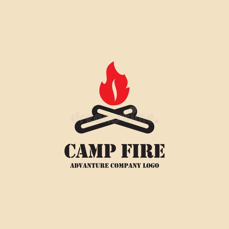 Icona del fuoco del campo Logo di campeggio dell'illustrazione di vettore dell'attrezzatura illustrazione di stock