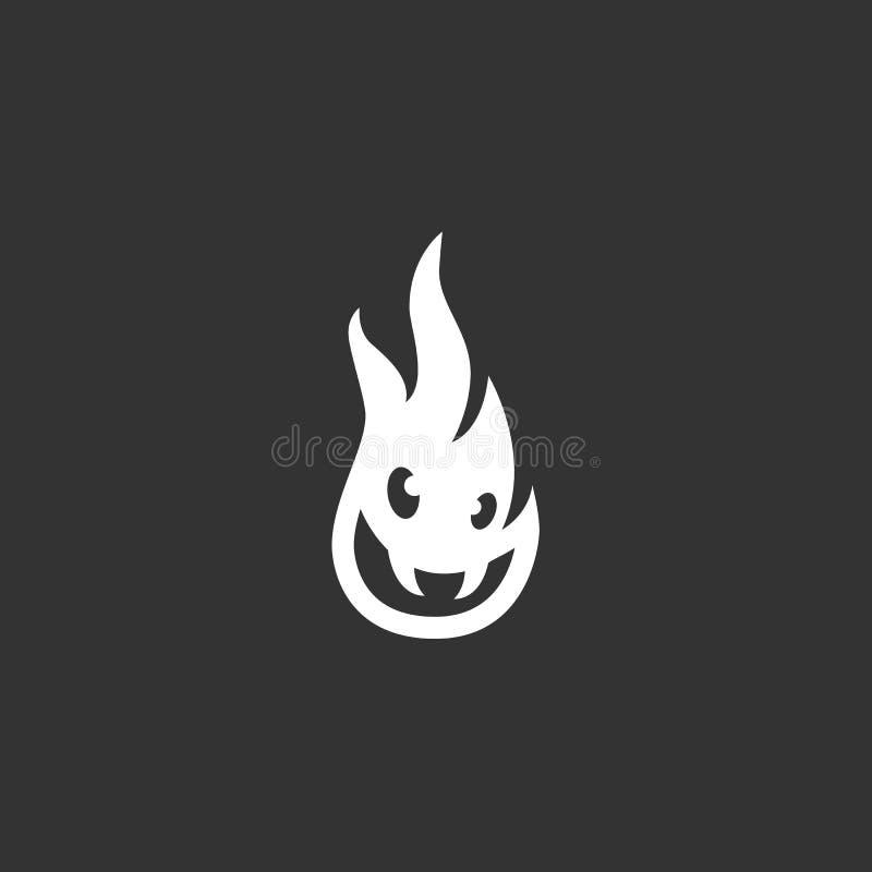 Icona del fuoco isolata su un fondo nero immagine stock libera da diritti