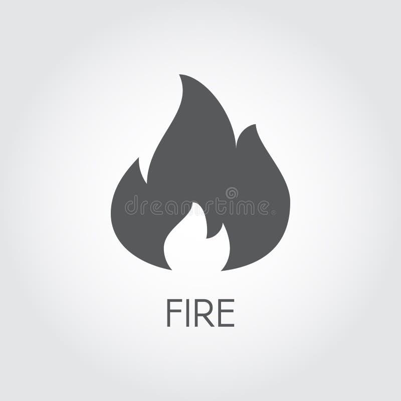 Icona del fuoco nello stile piano Pittogramma del nero di gas della fiamma su fondo grigio   illustrazione di stock