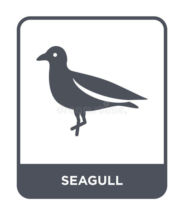 icona del gabbiano nello stile d'avanguardia di progettazione icona del gabbiano isolata su fondo bianco simbolo piano semplice e royalty illustrazione gratis