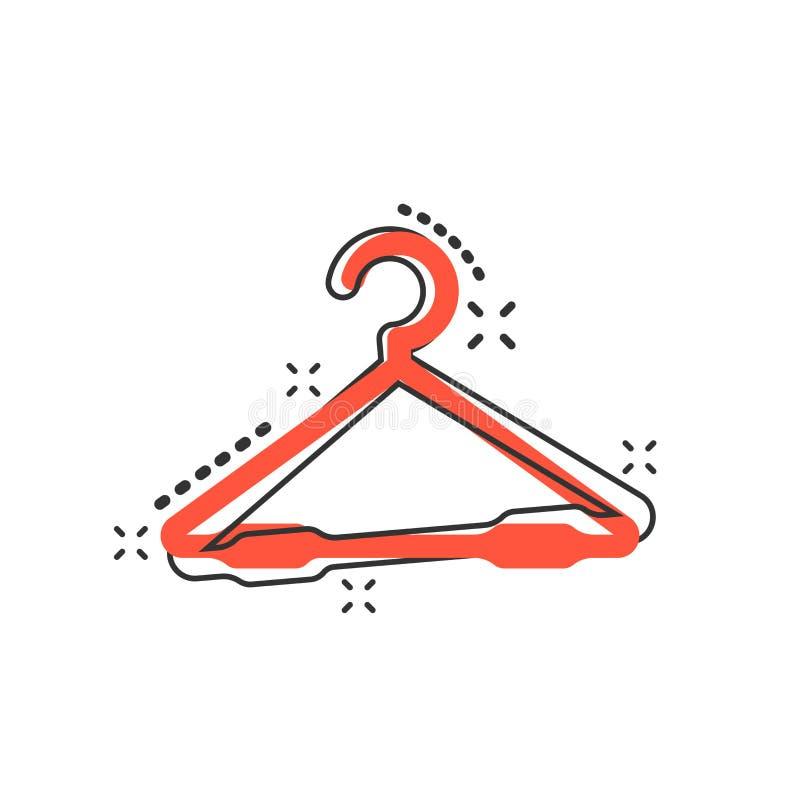 Icona del gancio del fumetto di vettore nello stile comico Segno del hander del guardaroba illustrazione vettoriale