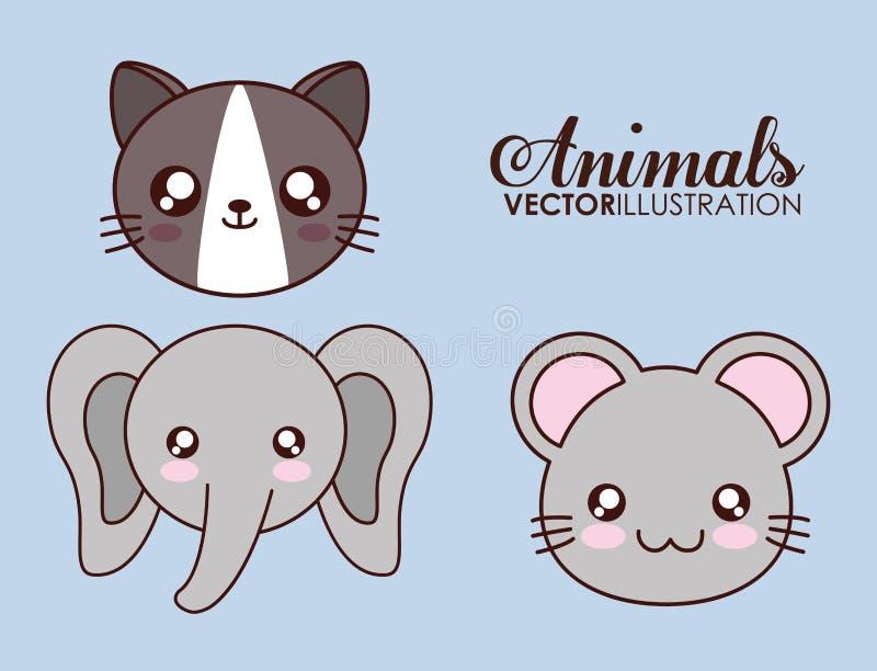 Icona del gatto, dell'elefante e del topo di Kawaii Grafico di vettore illustrazione di stock