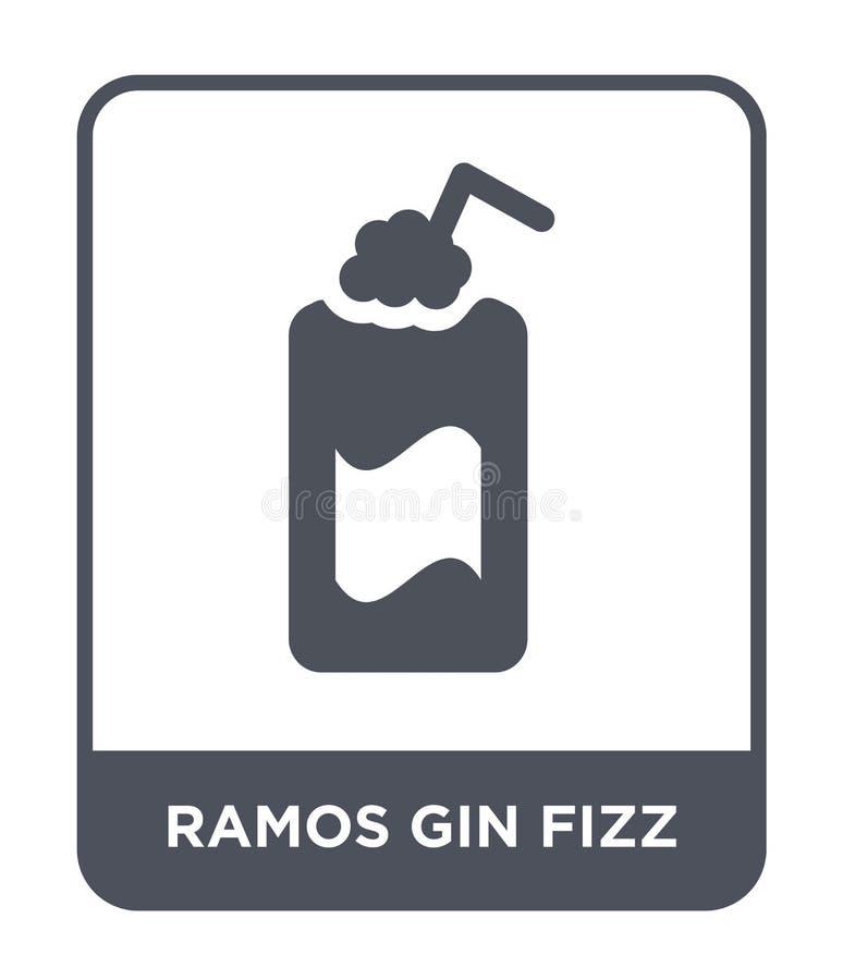 icona del gin Fizz del gin di Ramos nello stile d'avanguardia di progettazione icona del gin Fizz del gin di Ramos isolata su fon illustrazione di stock
