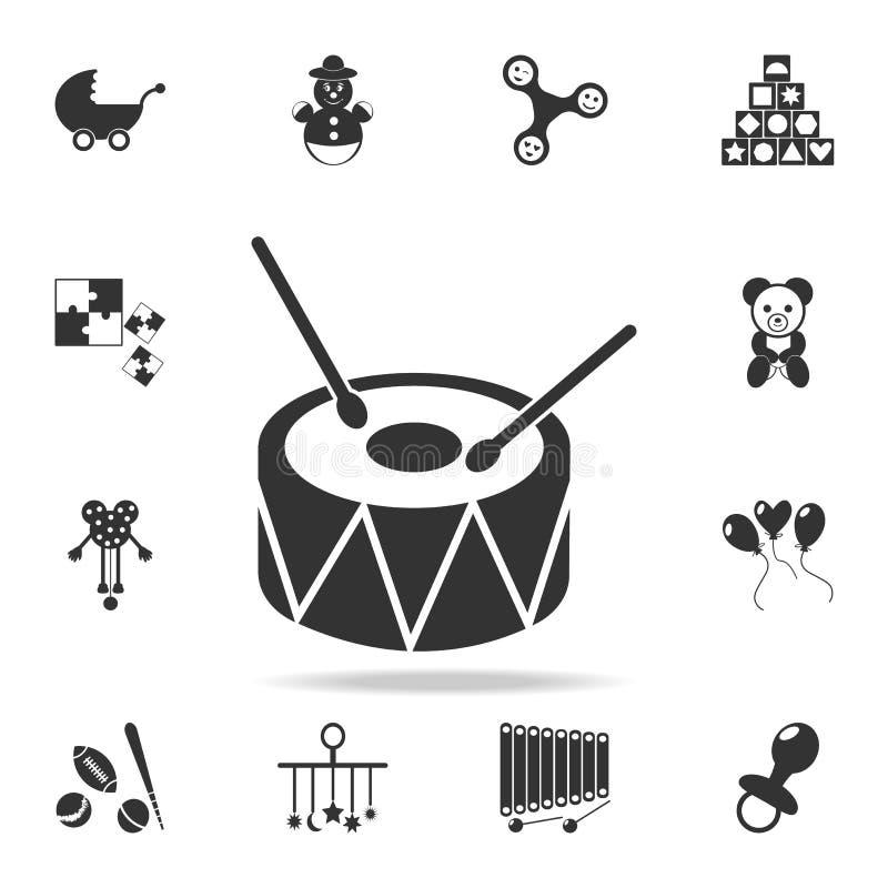 Icona del giocattolo del tamburo L'insieme dettagliato del bambino gioca le icone Progettazione grafica di qualità premio Una del royalty illustrazione gratis