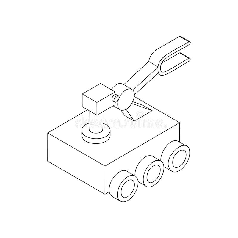 Icona del girovago di esplorazione di Marte, stile isometrico 3d illustrazione di stock