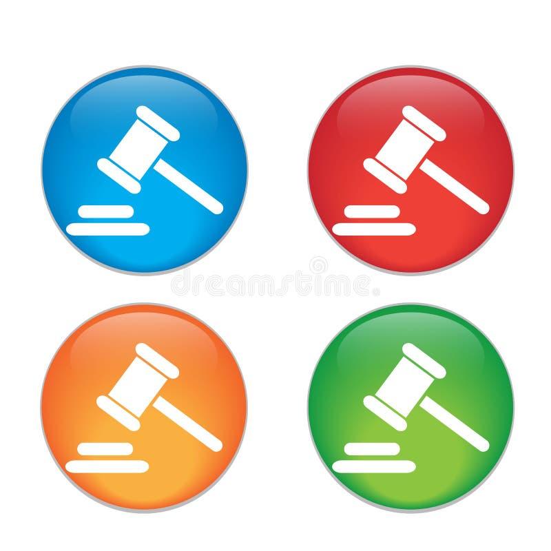 Icona del giudice del martello martello legale di legge del martelletto Vetro illustrazione di stock