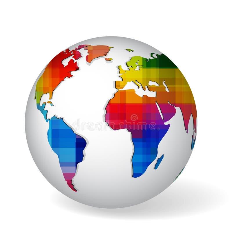 Icona del glob colorata arcobaleno illustrazione vettoriale