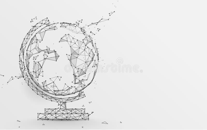 Icona del globo dalle linee, dai triangoli e dalla progettazione di stile della particella illustrazione di stock