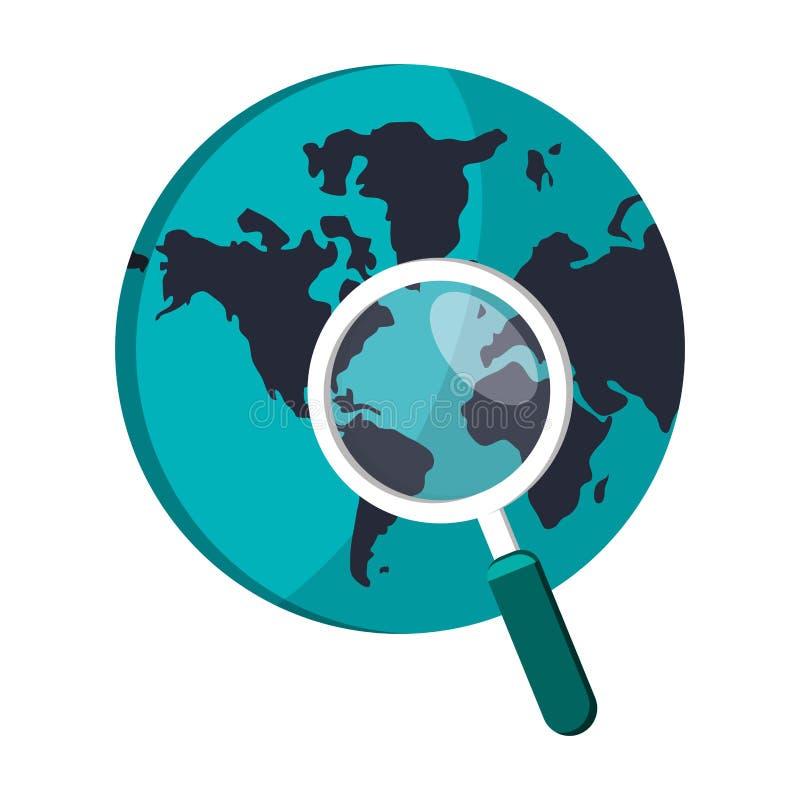 Icona del globo e della lente d'ingrandimento della terra illustrazione di stock