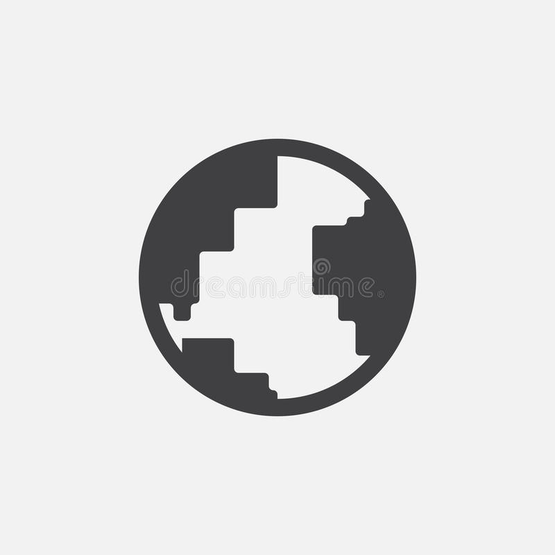 Icona del globo, illustrazione di logo, pittogramma del gruppo isolato su bianco illustrazione di stock