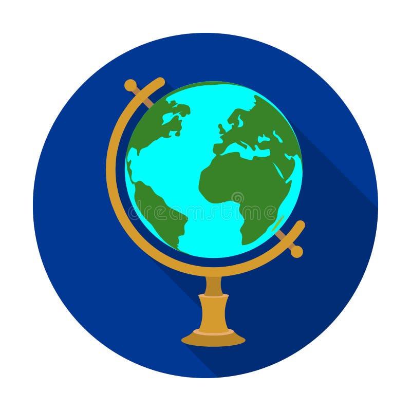 Icona del globo nello stile piano isolata su fondo bianco Illustrazione di vettore delle azione di simbolo di viaggio e di resto royalty illustrazione gratis