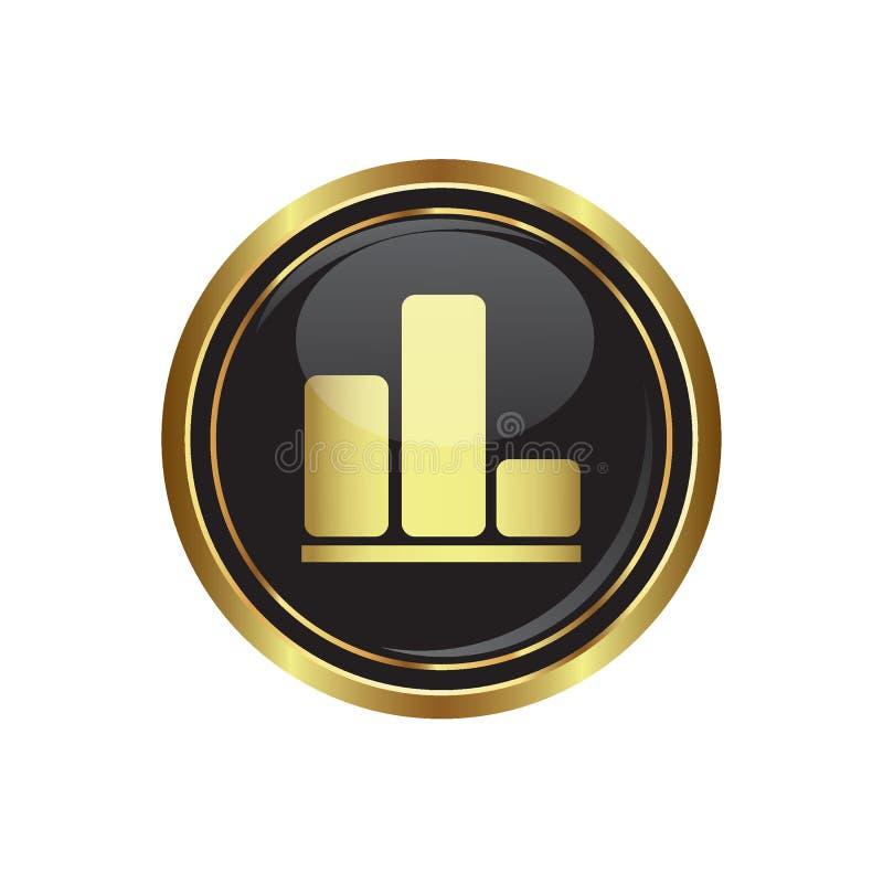 Icona del grafico commerciale sul nero con il bottone dell'oro illustrazione vettoriale